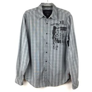 Men's Guess Black & White Plaid Long Sleeve Shirt